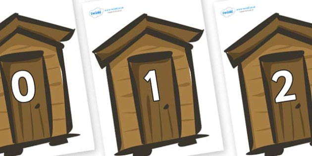 Numbers 0-31 on Sheds - 0-31, foundation stage numeracy, Number recognition, Number flashcards, counting, number frieze, Display numbers, number posters