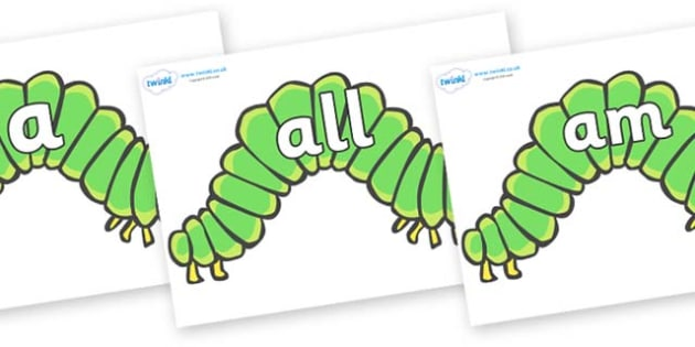 Foundation Stage 2 Keywords on Hungry Caterpillars to Support Teaching on The Very Hungry Caterpillar - FS2, CLL, keywords, Communication language and literacy,  Display, Key words, high frequency words, foundation stage literacy, DfES Letters and So