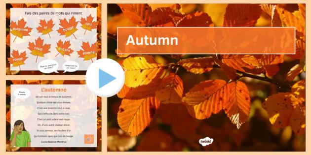 Poème L'Automne Présentation - french, autumn, poem, presentation