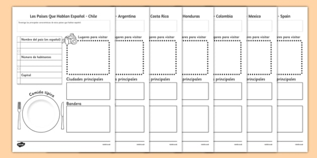 Los Paises Que Hablan Español Spanish Speaking Countries Project Writing Frame - project, proyecto, paises, espa