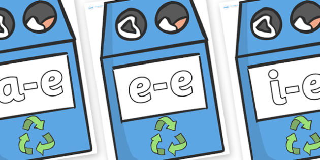 Modifying E Letters on Eco Bins - Modifying E, letters, modify, Phase 5, Phase five, alternative spellings for phonemes, DfES letters and Sounds