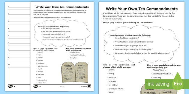 photograph regarding Ten Commandments Printable Activities identified as Create Your Personal 10 Commandments Composing Worksheet