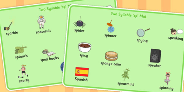 Two Syllable SP Word Mats - sp, syllable, sen, sound, word mats