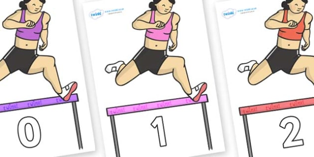 Numbers 0-100 on Olympic Hurdles - 0-100, foundation stage numeracy, Number recognition, Number flashcards, counting, number frieze, Display numbers, number posters