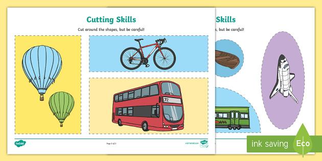 Transport Cutting Skills Activity Sheets
