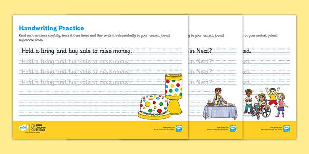 KS1 BBC Children in Need Cursive Handwriting Practice Worksheets