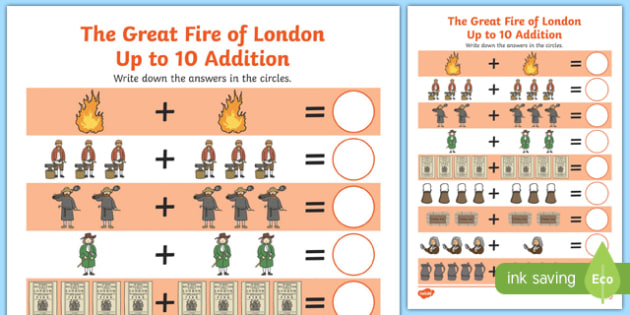The Great Fire of London Up to 10 Addition Sheet