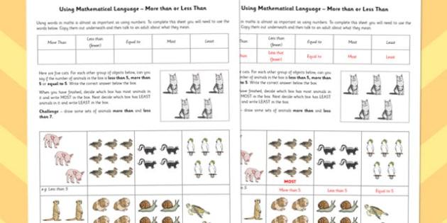 Using Mathematical Language More Than or Less Than - language, math