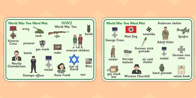 World War Two Word Mat - World War Two, WW2, history, war, world war, word mat, writing aid, mat, Nazi Germany, battle, soldiers, 1939, 1945, Pearl Harbour, Hitler