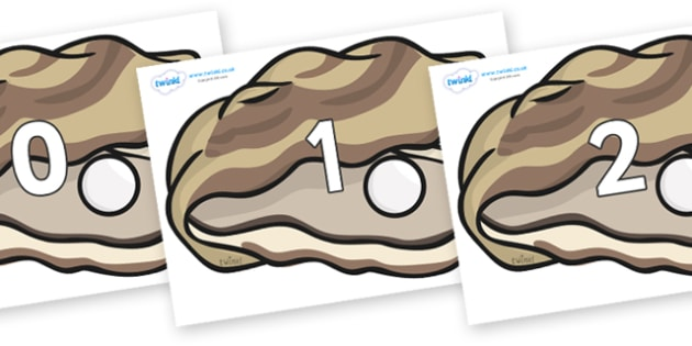Numbers 0-50 on Oysters - 0-50, foundation stage numeracy, Number recognition, Number flashcards, counting, number frieze, Display numbers, number posters