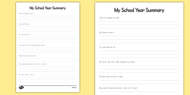 My School Year Summary Activity Sheet - usa, america, my school year, summary, activity, worksheet