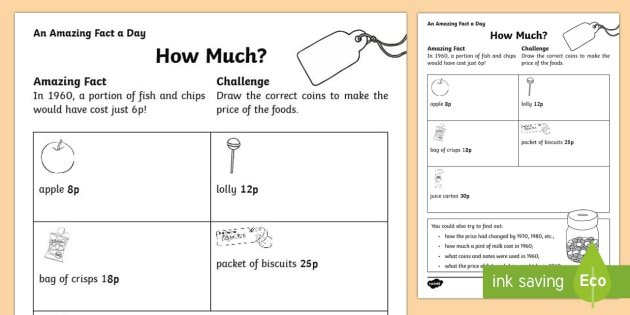 How Much? Activity Sheet