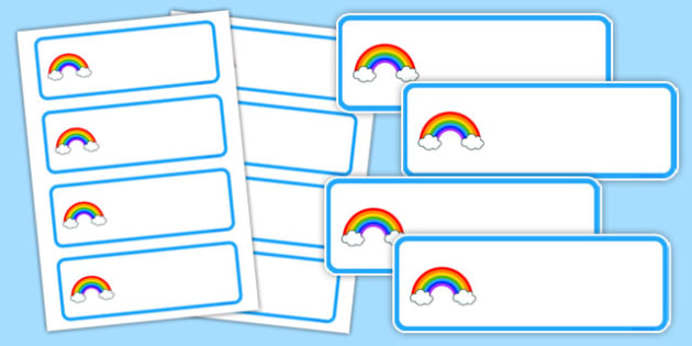 Editable Rainbow Themed Name Labels - editable, rainbow, name, labels