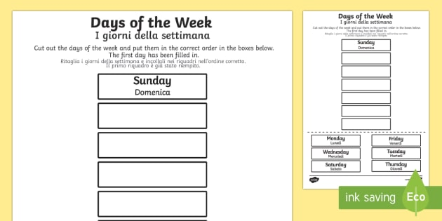 Italian Days Of The Week Primary Resources