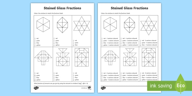 Colouring Non-Unit Fractions of Shapes Worksheet / Activity