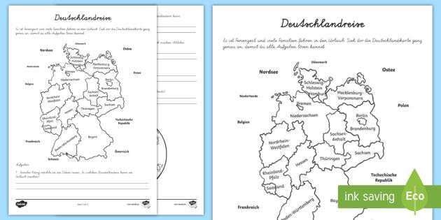 Deutschlandreise Arbeitsblatt - Sommer, Urlaub, Reise