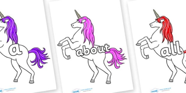 100 High Frequency Words on Unicorn - High frequency words, hfw, DfES Letters and Sounds, Letters and Sounds, display words