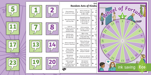 Random Acts of Kindness Wheel of Fortune Spinning Wheel