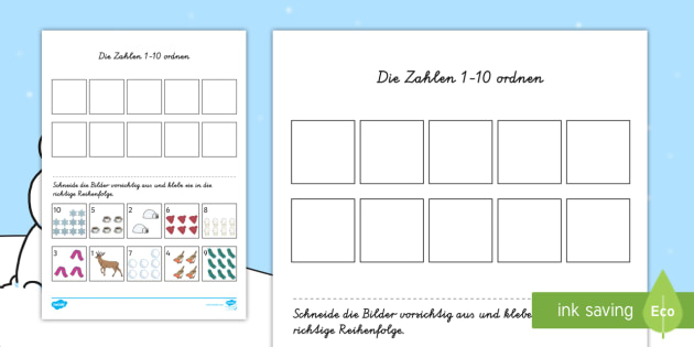 Winterliches Zahlen 1 10 orden Arbeitsblatt: Erstes Schneiden