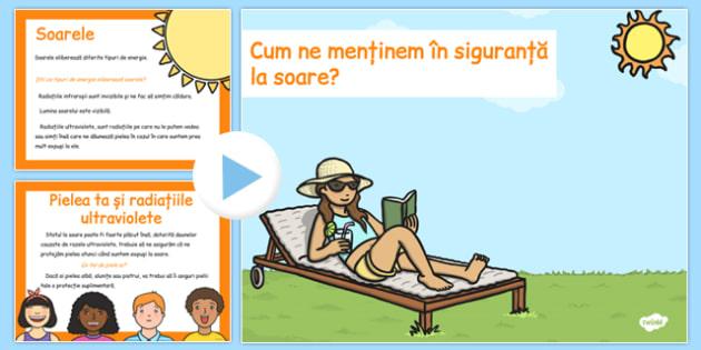 Siguranța la soare - Prezentare PowerPoint - soare, vară, siguranta, prezentare, Power Point, activitate, materiale didactice, română, romana, material, material