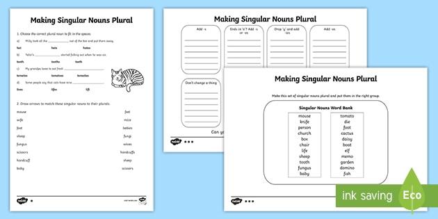 Making Singular Nouns Plural Activity Worksheets