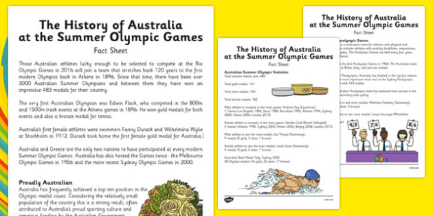 Australia at the Summer Olympic Games Fact Sheets - Australia, Olympic Games, Information, Fact Sheet, Reading Comprehension