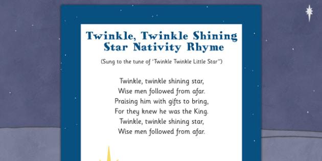 Twinkle, Twinkle, Shining Star Nativity Song Rhyme - twinkle, shining star, nativity, song, rhyme