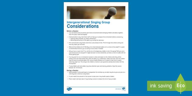 Intergenerational  Singing Considerations Adult Guidance - Singing, Intergenerational, Tips, Elders, Children, Activity Co-ordinators, Care Homes, Elderly Care