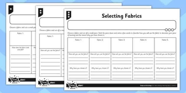 Activity Sheet Selecting Fabrics - activity sheet, selecting fabrics, worksheet