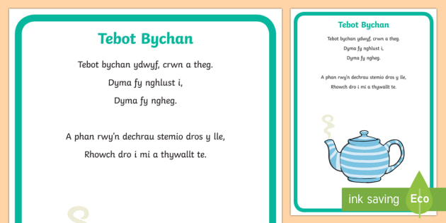 I'm a Little Tea Pot Display Poster Welsh - Welsh Second Language Songs and Rhymes, Welsh, I'm a Little Tea Pot, Welsh Songs, Welsh Display.,We