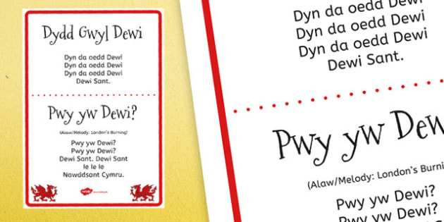 St David's Day Song Display Poster - welsh, Songs, St David's Day, Dydd Gŵyl Dewi