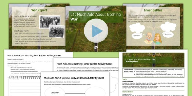 Much Ado About Nothing Lesson Pack 1: War - much ado about nothing, war, lesson pack