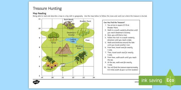 treasure hunt worksheet activity sheet map read skill geography. Black Bedroom Furniture Sets. Home Design Ideas