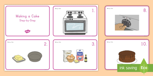 Making a Cake Sequencing Cards cake baking cards food