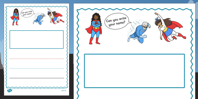 Superhero Themed Name Writing Worksheet Portrait - fun, inventive, characters, literacy, english, display, early years, ks1, ks2