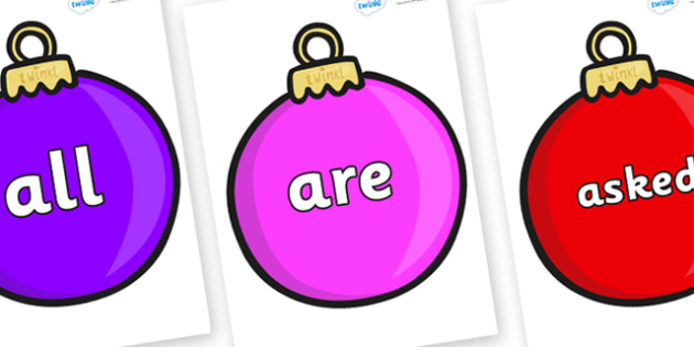 Tricky Words on Baubles (Plain) - Tricky words, DfES Letters and Sounds, Letters and sounds, display, words