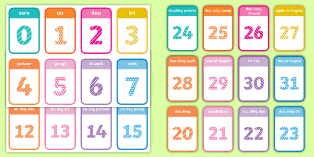 Numbers 0-20 Flashcards Welsh - number, maths, numeracy, count