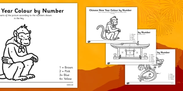 Chinese New Year Colouring By Numbers Worksheet - chinese new year, colour, numbers, worksheets, activity