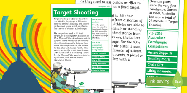 Rio Paralympics 2016 Target Shooting Display Poster