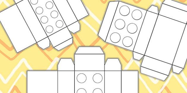 Building Brick Box Nets - shape nets, shapes, toys, nets, shapes, box,  lego