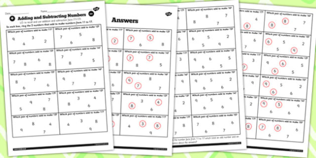 Number Facts Finding Pairs Worksheet 11-17 - number, fact, 11, 17
