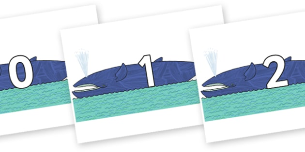 Numbers 0-50 on Whale to Support Teaching on Sharing a Shell - 0-50, foundation stage numeracy, Number recognition, Number flashcards, counting, number frieze, Display numbers, number posters