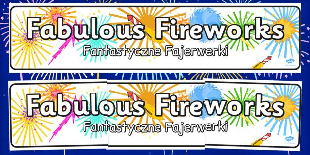 Fabulous Fireworks Display Banner Polish Translation - polish