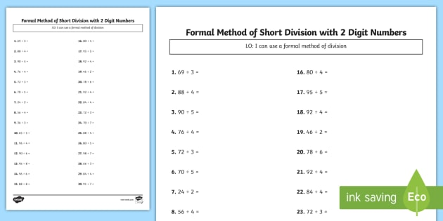 Recall and use multiplication and division facts bus stop method formal division of 2 digit numbers activity sheet ibookread Read Online