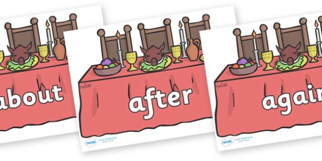 KS1 Keywords on Dining Tables - KS1, CLL, Communication language and literacy, Display, Key words, high frequency words, foundation stage literacy, DfES Letters and Sounds, Letters and Sounds, spelling