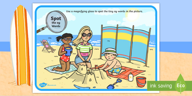 Phase 5 ay Words Beach Scene Magnifying Glass Worksheet / Activity Sheet - phonics, letters and sounds, phase 5, ay sound, magnifier, magnifying glass, find, activity, group,