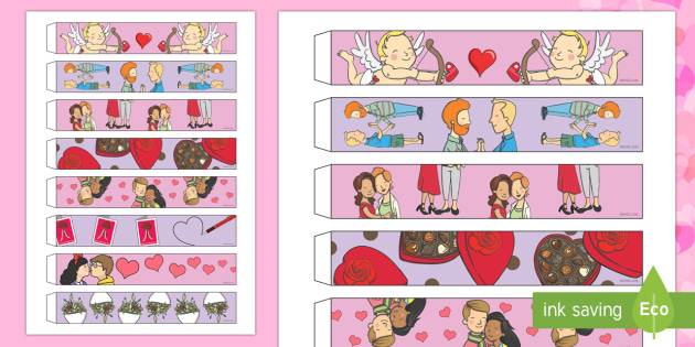 Valentine's Day Paper Chains - Valentine's Day,  Feb 14th, love, cupid, hearts, valentine,