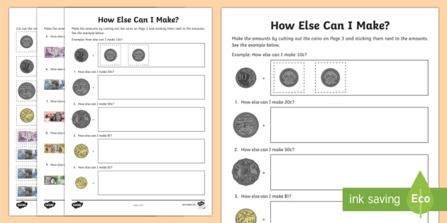 How Else Can I Make...? Activity Sheets - Australian currency, money, notes, coins, Australian curriculum, maths, ACMNA034, Australia, workshe
