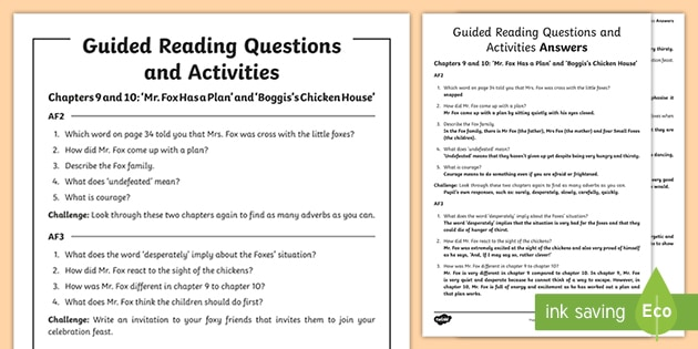 Free Guided Reading Questions Chapters 9 And 10 To Support Teaching On