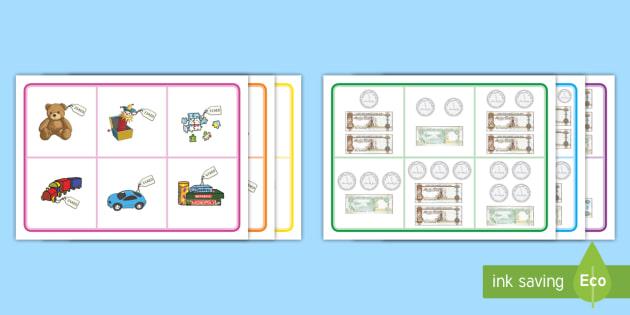 UAE Toy Shop to 50AED Bingo - UAE Maths Resources, money, dirham, uae maths, fils, prices